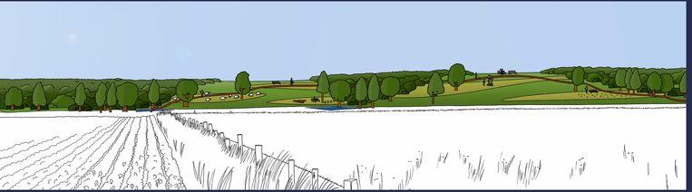 Zo zal de berm er na verloop van tijd uitzien: met bomen, wandel- en fietspaden en een park.