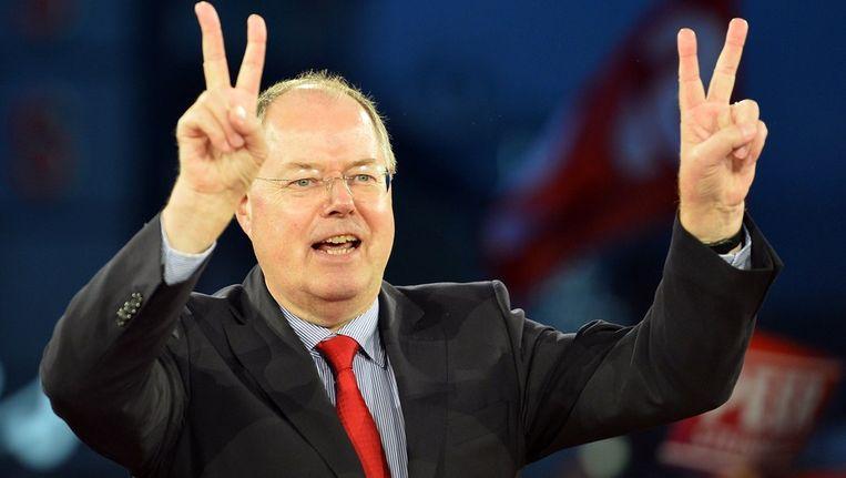 De leider van de linkse oppositie Peer Steinbrück van de SPD Beeld afp