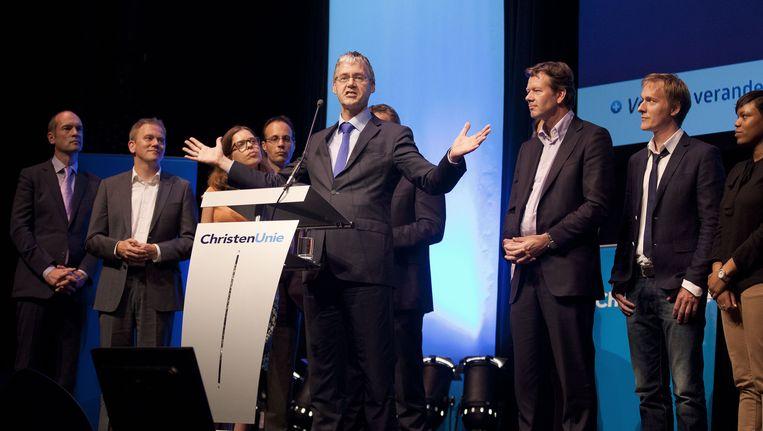 Lijsttrekker Arie Slob van de ChristenUnie tijdens het congres van zijn partij, vorige maand in Amersfoort. Beeld ANP