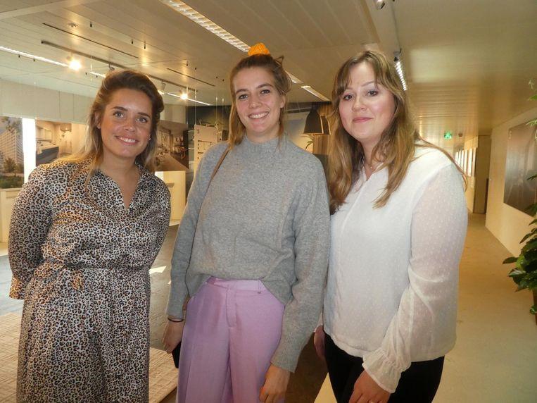 Roos Aaldering (Winq Magazine), Kathelijne Venema (L'Officiel) en Julia Lassche (Elle Decoration). Beeld Schuim