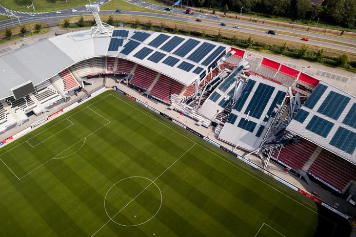 Dak Az Stadion Naar Beneden Gedrukt Door Harde Wind