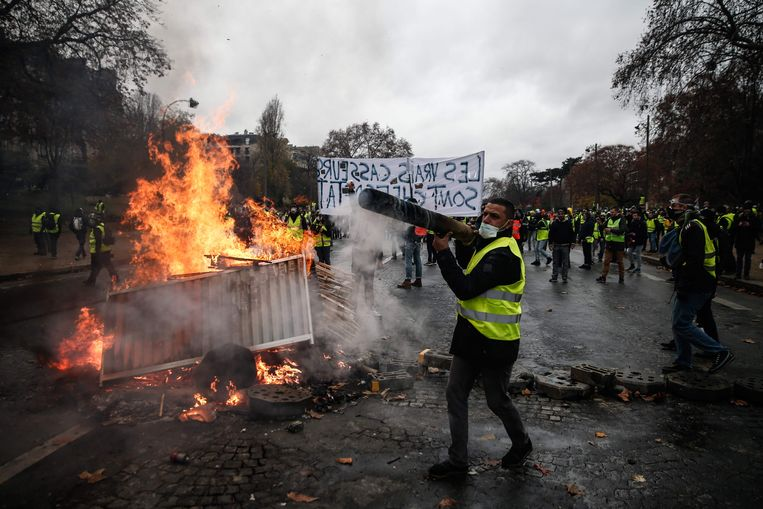 """De """"gele hesjes"""" voerden afgelopen weekend nog gewelddadige protesten in Frankrijk."""