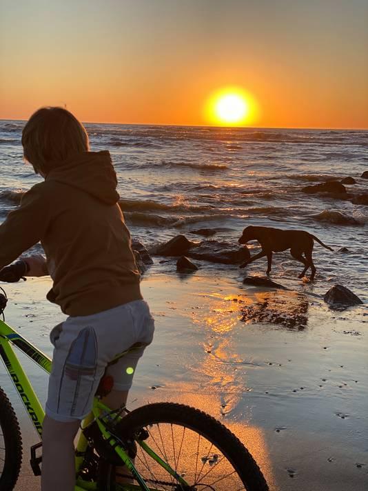 Samen met mijn zoontje en hond een fijne avondfietstocht aan het maken.