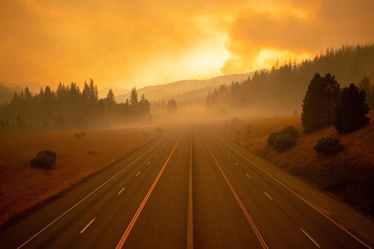 De belangrijke autosnelweg Interstate 5 is over een afstand van 80 kilometer afgesloten door de bosbrand.