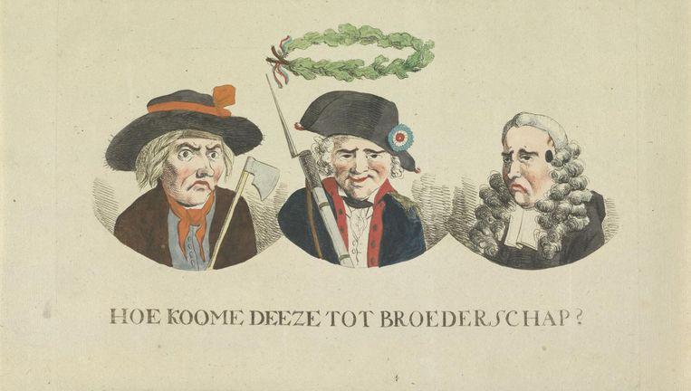Spotprent op de gelijkheid en broederschap, 1795, (toegeschreven aan) Hermanus Fock, 1795 Beeld Rijksmuseum