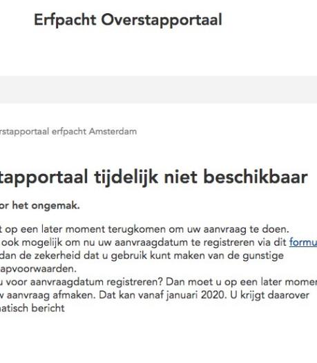 Website voor aanvraag eeuwigdurende erfpacht nog steeds plat