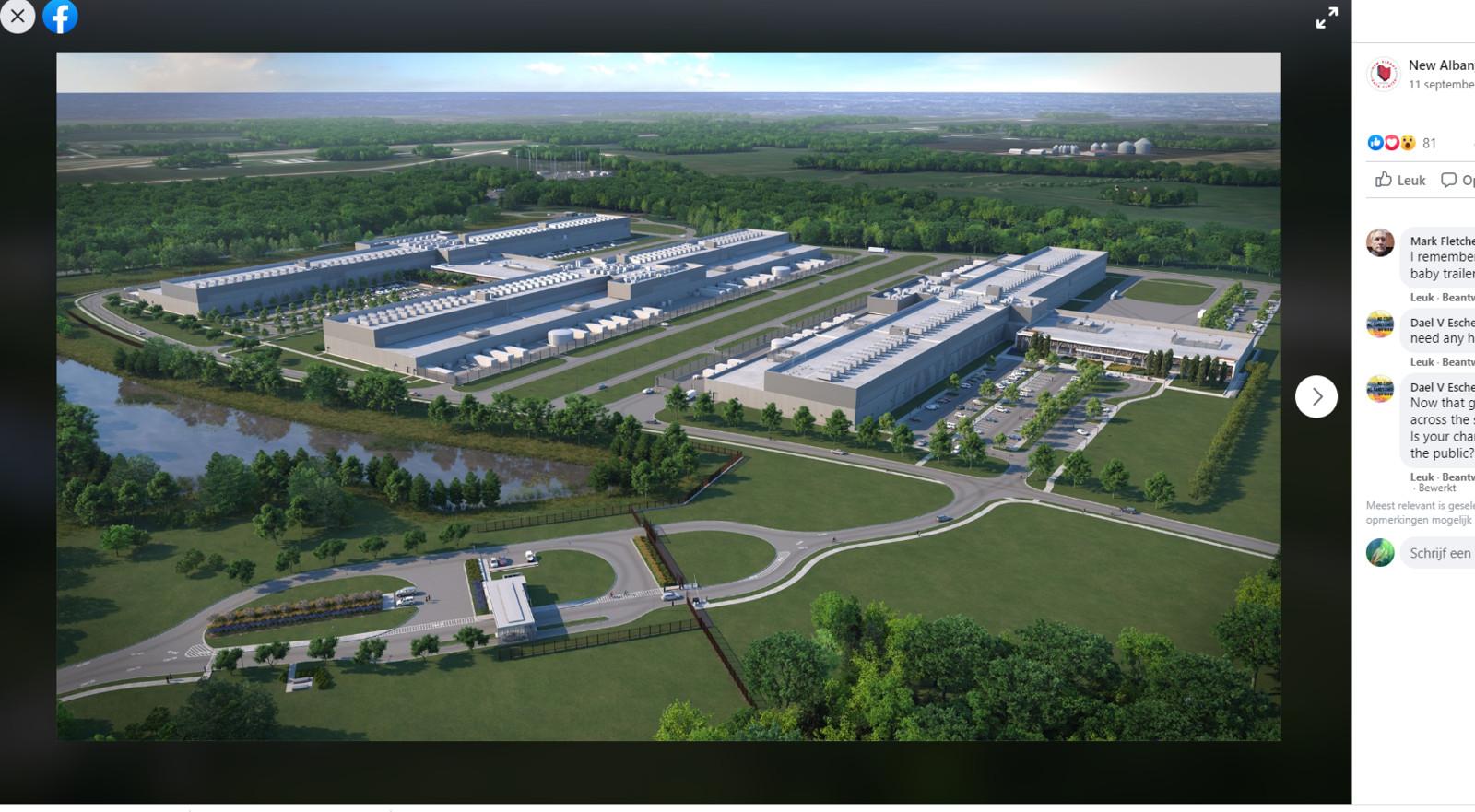 Het datacenter met een zeer vergelijkbare toegangsweg in New Albany, Ohio.