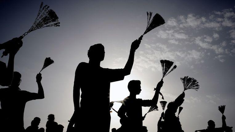 Sjiitische moslims in Bahrein vieren asjoera. Beeld afp