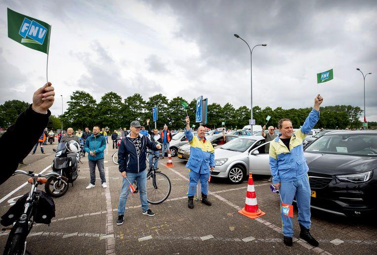 Afgelopen weken waren er al diverse spontane werkonderbrekingen georganiseerd door vakbond FNV. Beeld ANP