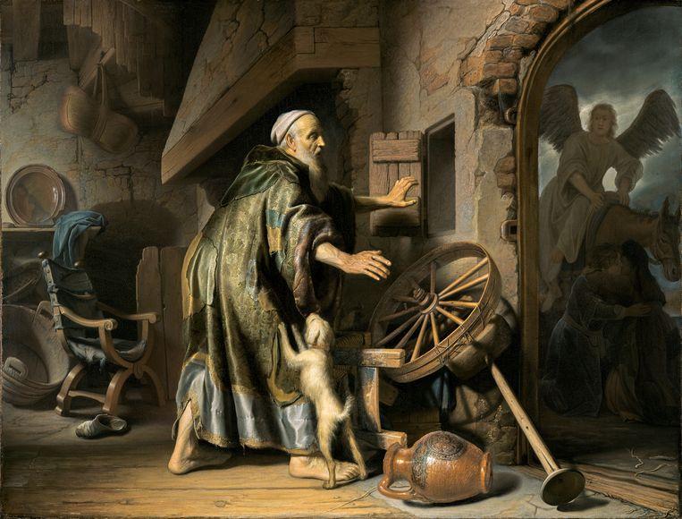 Rembrandt, Jan Lievens en Gerrit Dou, 'Tobit bij de terugkeer van Tobias' (1627-35 ), particuliere verzameling.  Beeld null