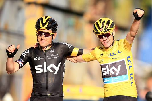 Geraint Thomas en Chris Froome bij de Tour in 2015.