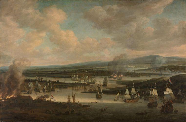 Het verbranden van de Engelse vloot bij Chatham, juni 1667, tijdens de Tweede Engelse Zeeoorlog (1665-1667), Willem Schellinks, 1667 - 1678. Olieverf op doek, h 111cm × b 168cm × d 3,0cm. Beeld Rijksstudio