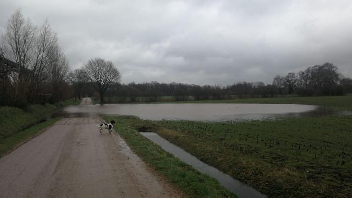 Wateroverlast in Hengelo, aan de Boekeloseveldweg.