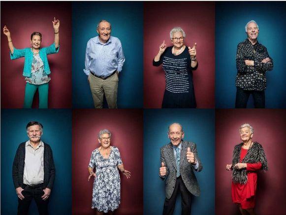De senioren uit 'De Wereld Rond Met 80-jarigen'. Van links naar rechts: Amanda, Aureel, Mariette, Vital, Willy, Adi, René en Elise.