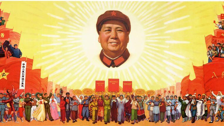 Mao als de rijzende zon. De Chinese Communistische Partij bedient zich vaker van aan religie ontleende symboliek.  Beeld RV