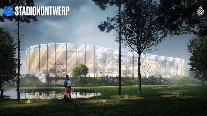 Een beeld van het nieuwe stadion van blauw-zwart op de Olympiasite.