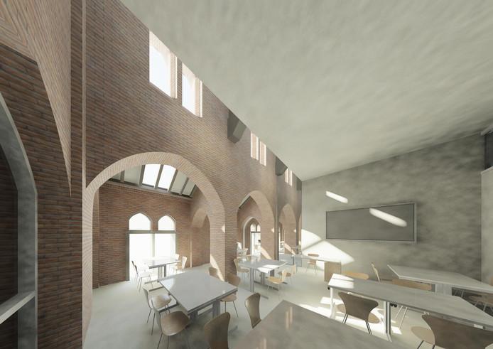 Een impressie van een klaslokaal in de Adrianuskerk na de verbouwing.
