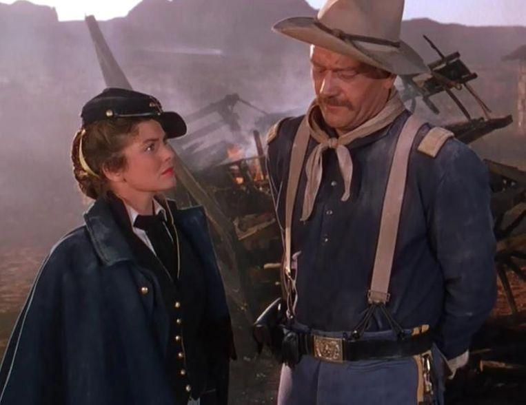 Joanne Dru en John Wayne in She Wore a Yellow Ribbon (John Ford, 1949). Beeld