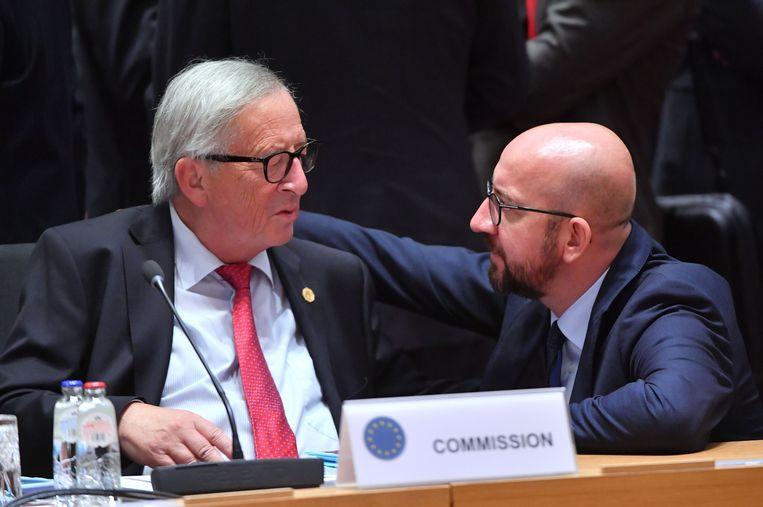 Europees Commissievoorzitter Jean-Claude Juncker en premier Charles Michel op de Europese top deze week.