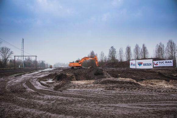 De werken aan de spoorwegen in Diepenbeek.