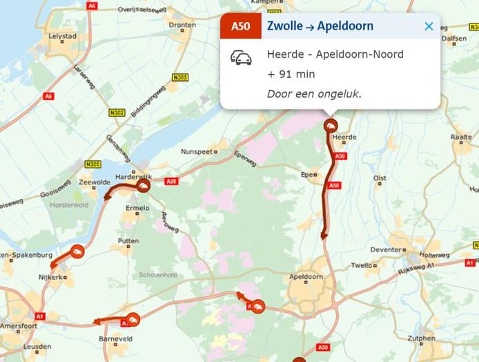 De situatie op de A50 rond 7.10 uur.