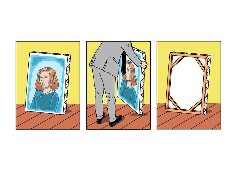 Illustratie van Gisèle.  De kunstenaarsgemeenschap die zij in haar huis herbergde, en tot haar dood geheel bekostigde, had trekken van een sekte.  Beeld Olivier Heiligers