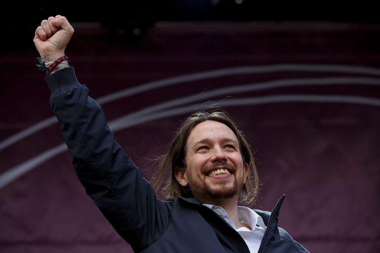 Pablo Iglesias, de leider van Podemos Beeld getty