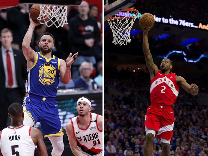 Stephen Curry (links) en Kawhi Leonard.