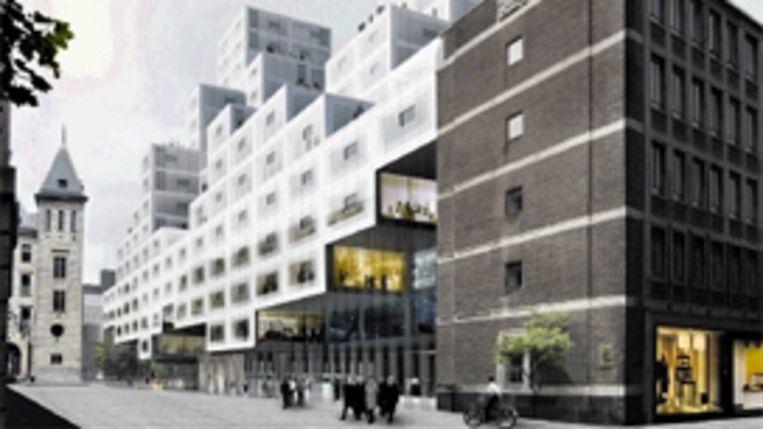 Het nieuwe stadskantoor dat Rem Koolhaas voor Rotterdam gaat bouwen, rust op twee draagpunten. ( ARTIST IMPRESSION OMA) Beeld