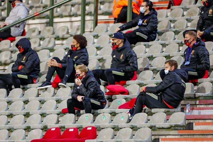 De  Belgische tribune tegen Ivoorkust.