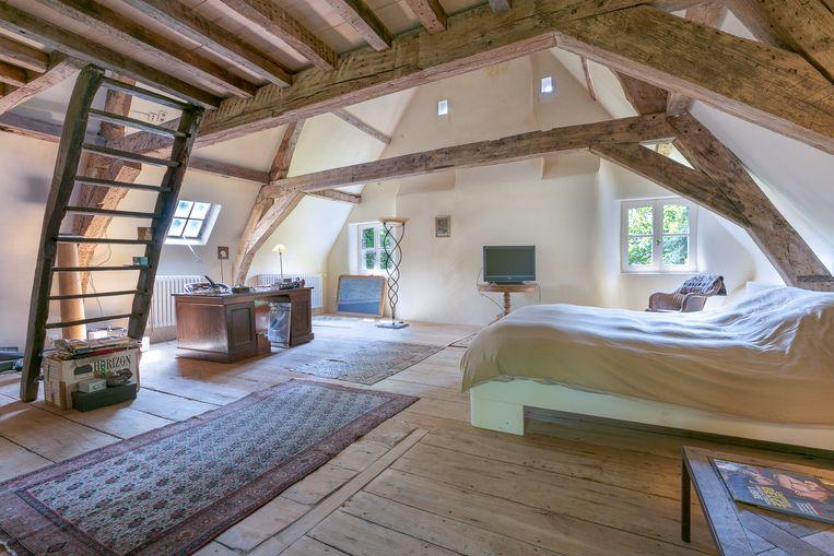 Eén van de vier slaapkamers in Kasteel Nieuwenhove.