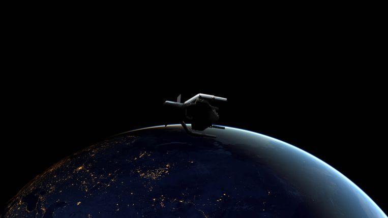 Artistieke impressie van het ClearSpace-1 ruimteschip dat ruimteschroot zal opruimen in 2025.