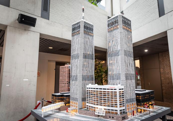 Maquette van het WTC in het gemeentehuis van Deurne.