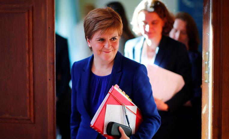 De Schotse eerste minister Nicola Sturgeon in Berlijn vandaag.