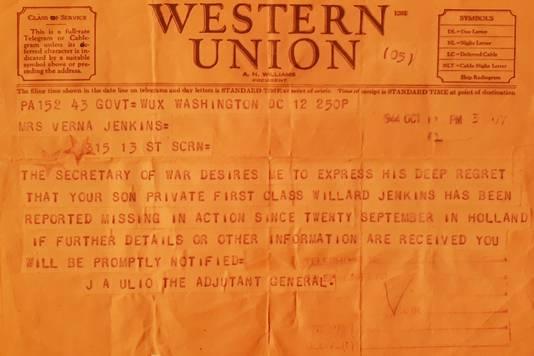 De telegram die de moeder van Willard Jenkins kreeg.