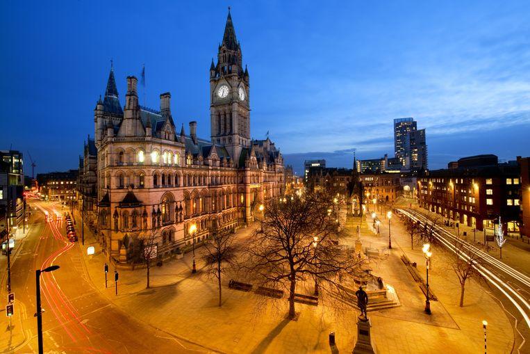 Stadhuis van Manchester op Albert Square Beeld null