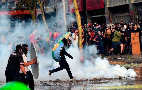 Rellen in de Chileense hoofdstad Santiago.