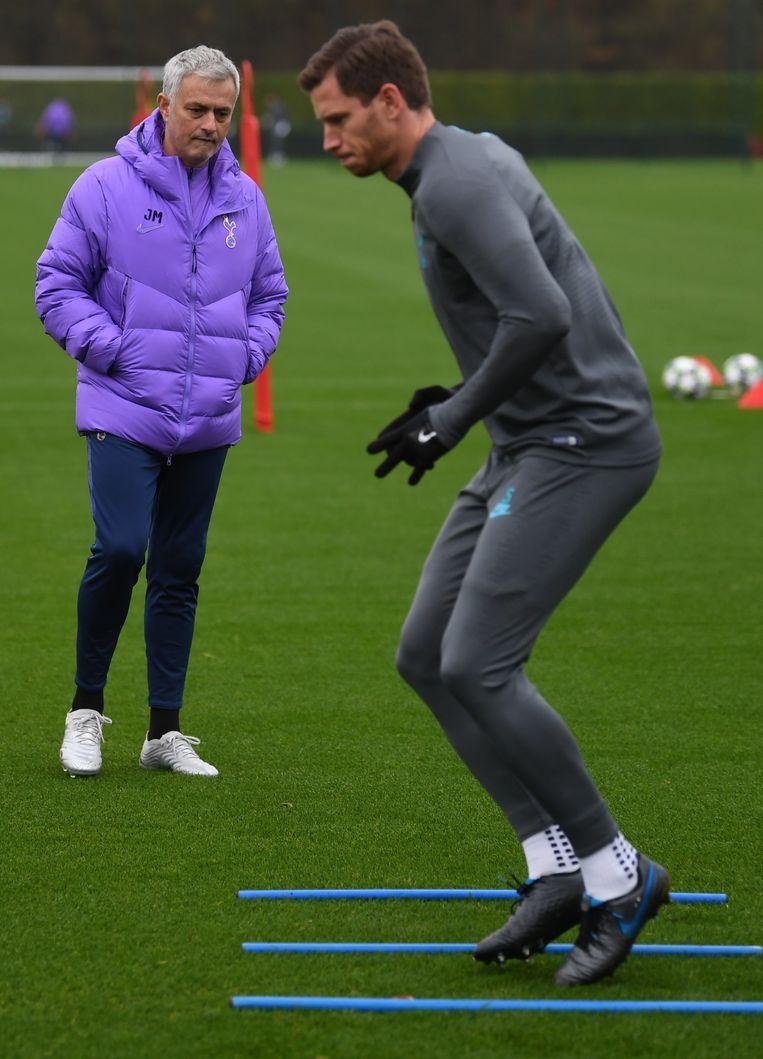 Vertonghen vandaag op training met Mourinho.