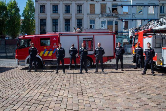 Brandweermannen die deelnamen aan de actie: Frederik, Steven, Frederik, Filip, Jeffrey, Bruno, Thomas en Stef.