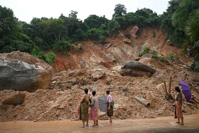 Archieffoto van een aardverschuiving in Myanmar.