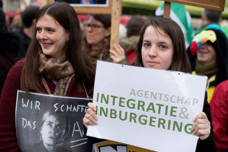 Een actie van de werknemers van het Agentschap Integratie en Inburgering op 23 januari.