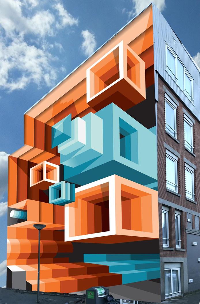 Het ontwerp van kunstenaar Mr. June's voor de Pijperstraat in Crooswijk.