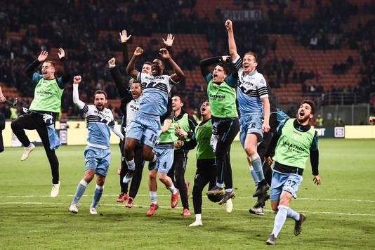 Lazio viert het bereiken van de Italiaanse bekerfinale.