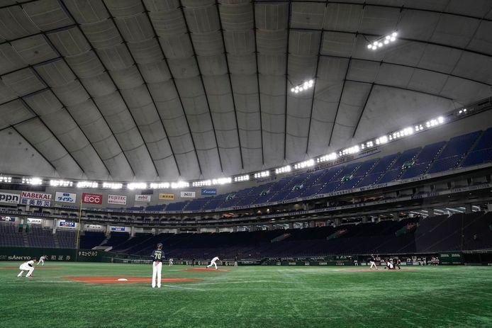 Een leeg honkbalstadion in Japan.