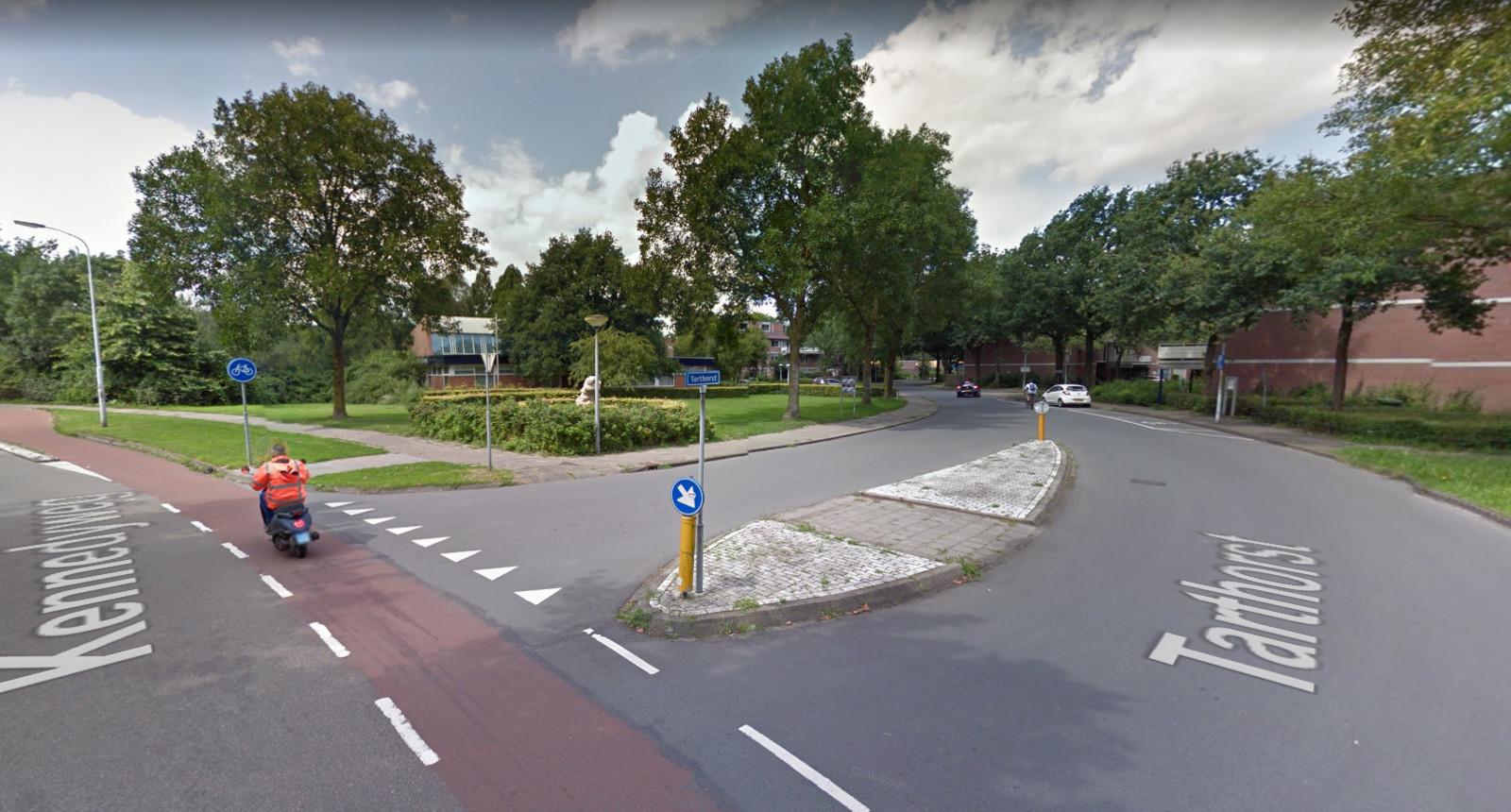 Het betreffende kruispunt in Wageningen.