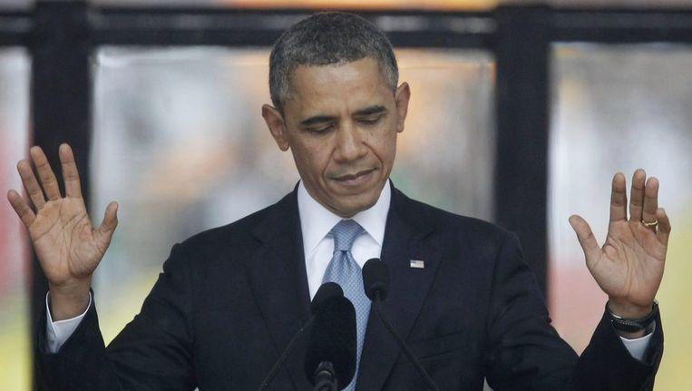 President Barack Obama tijdens zijn toespraak bij Mandela's herdenking. Beeld epa