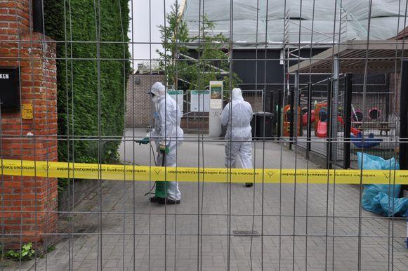 Een gespecialiseerde firma fixeert de asbestdeeltjes met een chemische vloeistof waardoor die niet meer in de lucht terechtkomen.