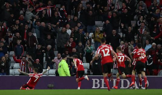 Vreugde bij de spelers en supporters van Sunderland.