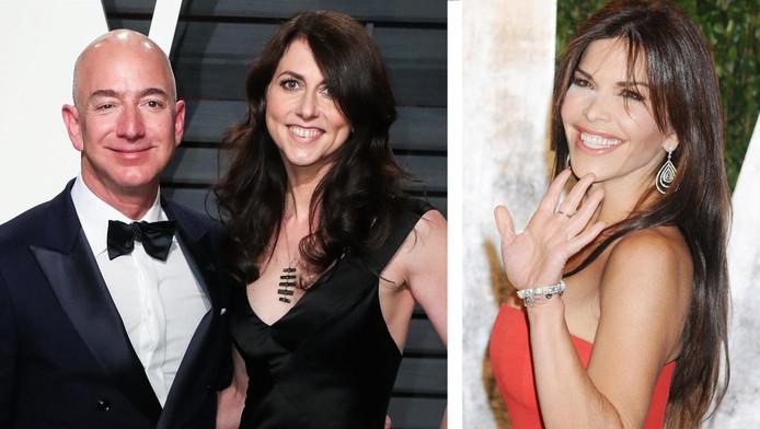 Jeff Bezos, sa future ex-femme MacKenzie (à gauche) et sa maîtresse Lauren Sanchez, une présentatrice télé américaine.