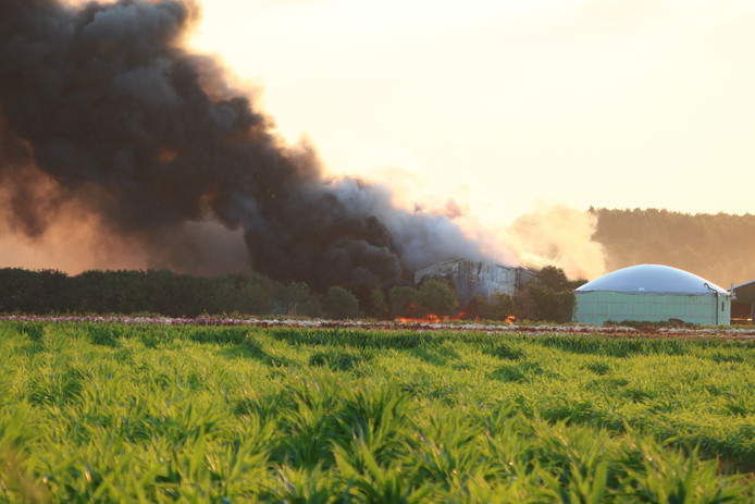 Er is veel rook ontstaan bij de brand in Haps.